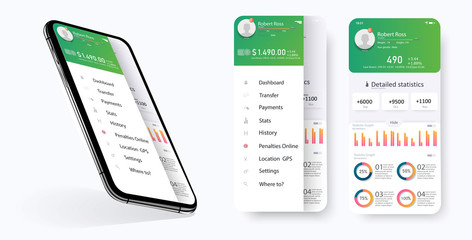 CRM application smartphone interface vector template. Mobile software page. Customer Relationship Management app screen. Flat UI, GUI. Statistics features for mobile apps and responsive website.Vector