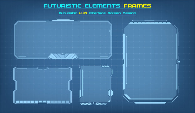 Sci Fi HUD modern futuristic user interface square Frames blocks Set.  Technology background with HUD dashboard interface. Vector illustration.