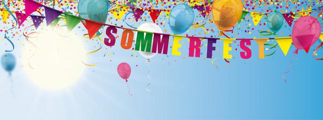Sommerfest Banner mit Luftballons, Konfetti und Girlanden