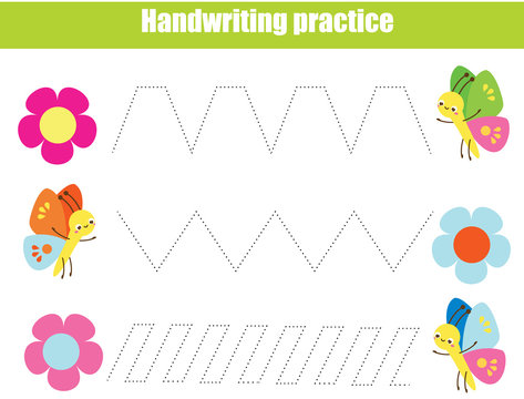 Handwriting practice sheet. Educational children game. Tracing lines with funny insects. early education worksheet for kids
