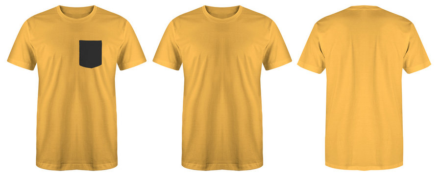 Blank t shirt set bundle pack. yellow t shirt isolated on white background with three different style, suitable for mock up or presentation your project.