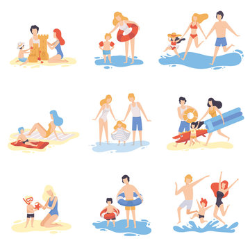 Parents and Their Children Playing and Having Fun on Beach, Happy Family Enjoying Summer Vacation on Seashore Vector Illustration