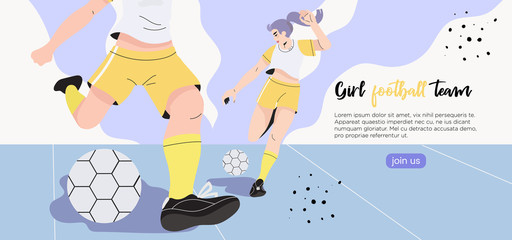 Vector illustration of girls in a professional uniform playing football or soccer on a stadium. Creative banner, poster, flyer or landing page for a women soccer, football club, game or match.