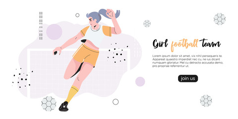 Vector illustration of a girl in a professional uniform playing football or soccer. Creative banner, poster, flyer or landing page for a women soccer, football club, game or friendly match.