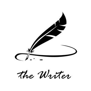 Vector logo writer. Signature with inkwell o bird pen