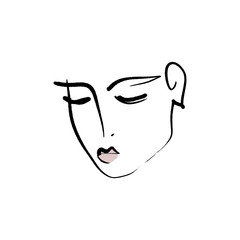 Line drawn black and white trendy face silhouette. Abstract contour. Print for clothes, textile and other. Vector