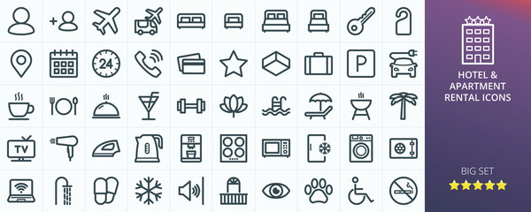 Hotel icons set for website. Set of apartment rental service - inn, hostel, inn, guest house, transfer, travel, rent apartments isolated vector icons Wall mural