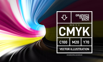 CMYK paint in the form of a 3D spiral pipe. Inside view. Vector illustration