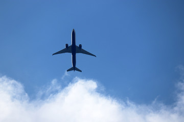 Airplane in the blue sky with white clouds. Commercial plane in a flight close up, bottom view Fototapete