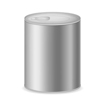 Realistic Detailed 3d Canned Metal Packaging. Vector