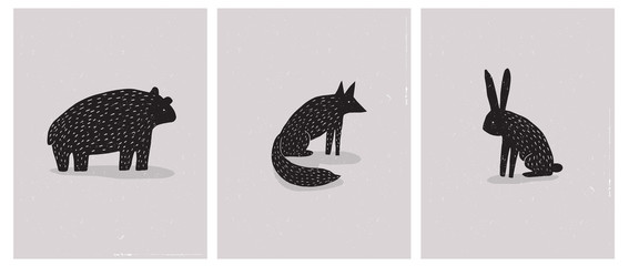 Set of 3 Simple Abstrac Vector Illustration with Hand Drawn Bear, Hare and Fox. Black Wild Animals Silhouette on a Beige Grunge Background. Scandinavian Style Vector Art for Card, Poster, Printing.