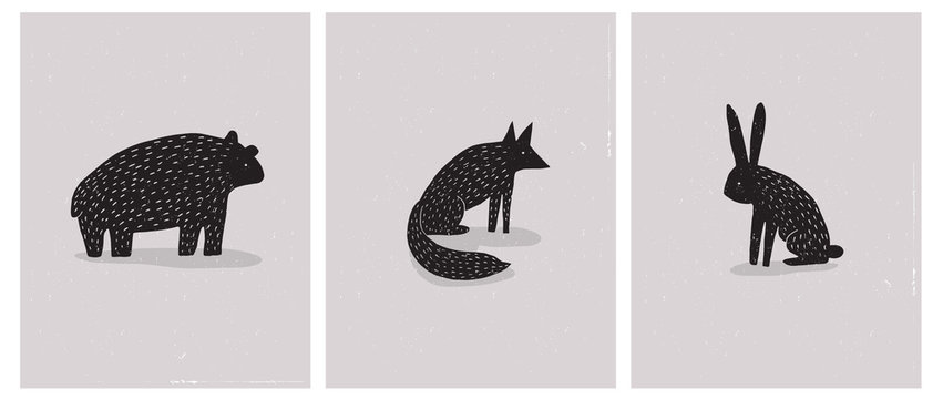 Set of 3 Simple Abstract Vector Illustration with Hand Drawn Bear, Hare and Fox. Black Wild Animals Silhouette on a Beige Grunge Background. Scandinavian Style Vector Art for Card, Poster, Printing.