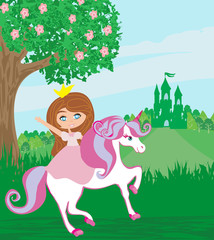 Poster sweet little Princess riding a fairy-tale horse
