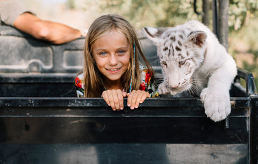 Portrait of a domesticated white tiger playing with a blonde child