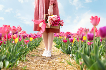 Beautiful young woman in tulip field on spring day