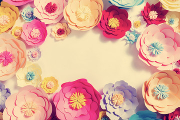 Colorful handmade paper flowers background