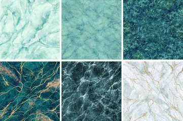 abstract background, mint green malachite marble sample collection, gold veins, fake stone textures set, painted artificial marbled surface, pastel marbling illustration Wall mural