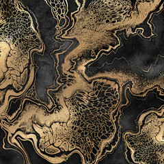 abstract liquid acrylic painting, gold veins on black background, creative watercolor wallpaper,...