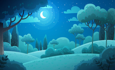 Fototapeten Blau Jeans Vector illustration background of the Italian countryside. Hill landscape with pines and cypresses. Night scenery with moon and stars in dark blue sky.