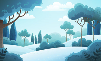 Vector illustration background of the Italian countryside. Hill landscape with pines and cypresses. Winter scenery with snow covered hills and frozen trees.