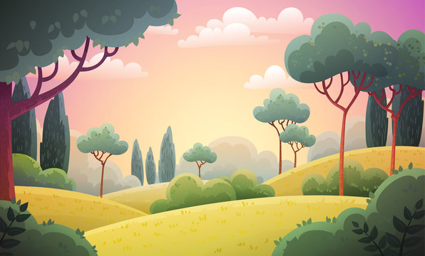 Vector illustration background of the Italian countryside. Hill landscape with pines and cypresses. Morning scenery with sunrise light.
