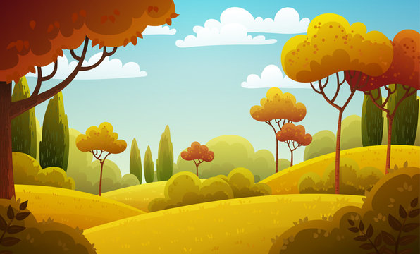 Vector illustration background of the Italian countryside. Hill landscape with pines and cypresses. Autumn scenery with red and yellow colors.
