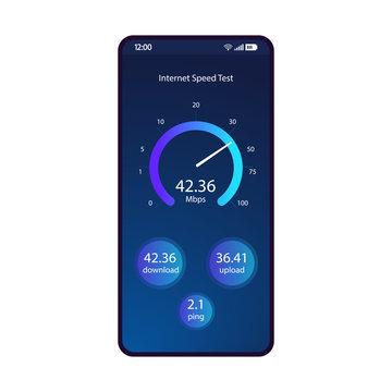 Internet speed test smartphone interface vector template