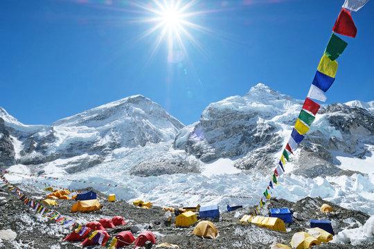 Everest base camp. Mountain peak Everest - highest mountain in the world. National Park, Nepal.