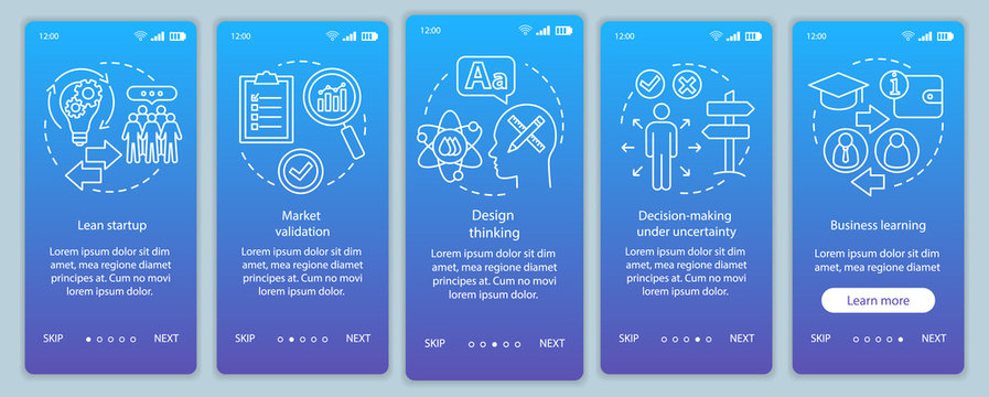 Startup principles onboarding mobile app page screen vector template