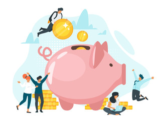 Coins in piggy bank flat vector illustration