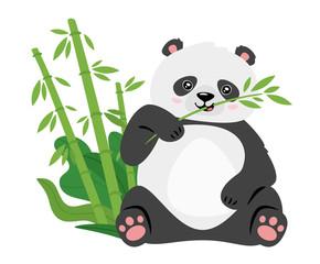 Cute panda eating bamboo stems flat vector illustration
