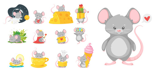 Baby mice flat vector illustrations set