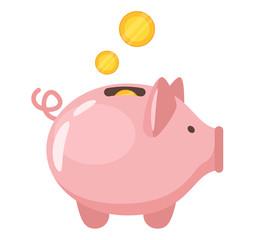 Piggy bank flat vector illustration