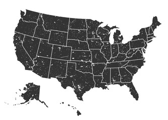 United states of america map . Grunge style . Vector