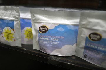 Cannabis infused caramel corn is seen at Harbor Collective legal dispensary in San Diego