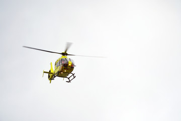 Air ambulance helicopter taking off to an emergency operation