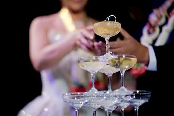 pour champagne, wineglass, celebration, dinner, wine glass