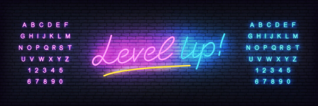 Level up neon template. Glowing lettering for game club.