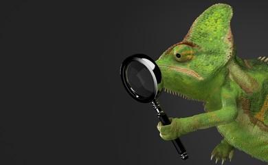 Chameleon holding magnifying glass Wall mural