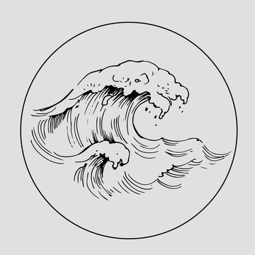 Outline of sea wave. Hand drawn sketch with transparent background. Vector