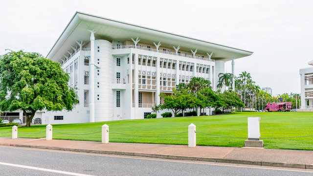 The beautiful Parliament House in the historic center of Darwin, Australia, on a sunny day