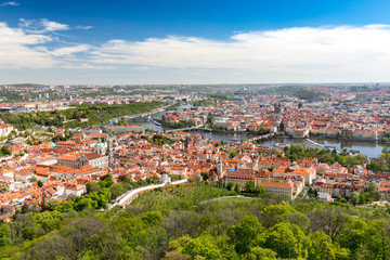 Panorama of Vltava and Charles Bridge from above on sunny day. Prague. Czech
