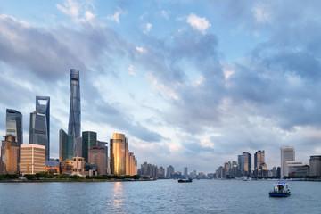 Fotobehang - shanghai cityscape at dusk