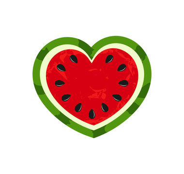 Watermelon heart summer fruit icon.
