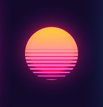 Vintage 80s colorful retro sunset. Vaporwave synthwave styled vector illustration of the sun. Template for poster space futuristic background.