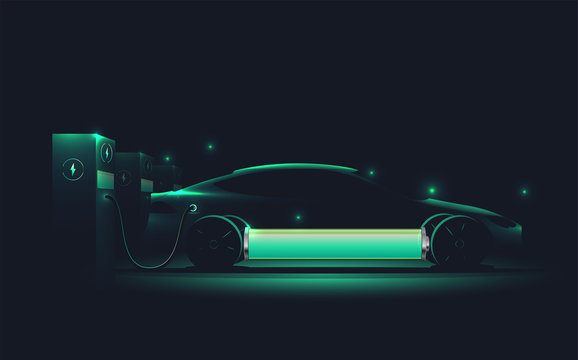 Electric car charging at charge station. Electromobility e-motion concept. Electro car silhouette. Realistic vector illustration.