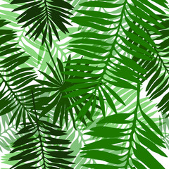 Vector seamless pattern with green palm leaves.