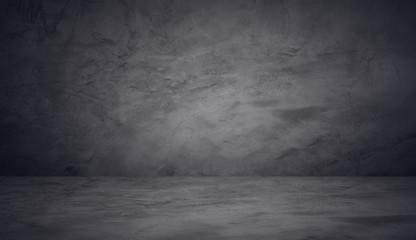 Fototapete - dark and black wall cement studio room background