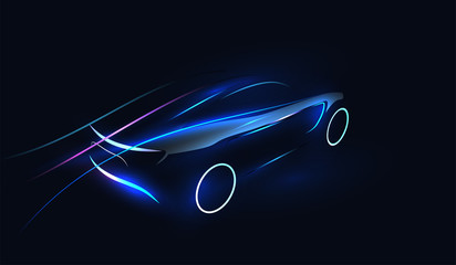 Abstract Futuristic Neon Glowing Concept Car Silhouette. Automotive template for your banner, wallpaper, marketing advertising. Vector illustration.