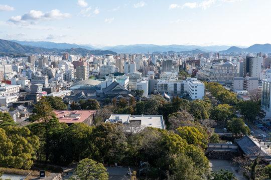 高知城の天守から見る高知市街の風景